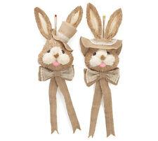 Hanging Sisal Bunny Rabbit COUPLE for Easter Decor, Wreath 6.5 x 15