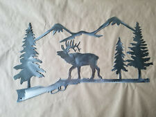 Elk western custom sign outdoor wild free House address decor hunter trees