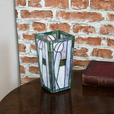 New Tiffany Stained Glass Mackintosh Vase / Candle Tea Lamp Art deco