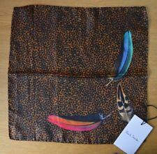 Paul Smith Leopardendruck mit Vogel Federn 100% silk pocket square Taschentuch