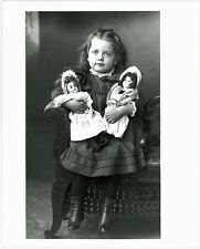 "Vintage 8"" x 10"" Photograph of Pretty Young Girl & Dolls Early 1900's"
