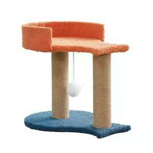 New Cat Climbing Frame Orange Blue Fish Shape With Small Hairball Home Kitten