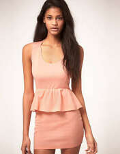 OH MY LOVE JERSEY PEPLUM DRESS PEACH SIZE M BRAND NEW WITH TAGS SALE