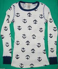 TWENTY ONE ANCHORS AWAY LONG SLEEVE THERMO TOP WHITE w/BLUE ANCHORS STRETCH SMAL