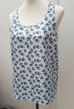 Atmosphere Ladies Size 10 White Blue Floral Print Strappy Vest Top Spring Wear
