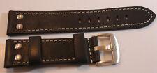 Fliegeruhren Armband Vintage-Look Stahlnieten Echtleder dunkelbraun Größe 22mm