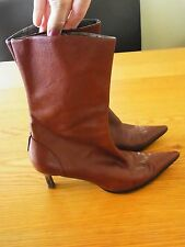 Hot Ladies Brown Leather Ankle Low Heel Pointy Toe Nine West Boots size 7M