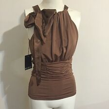 Events Mystic Jersey Halter Neck Top Brown Bronze Satin Antique Bow Ruche Formal