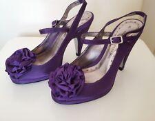 "Dorothy Perkins Ladies Open Toe Flower Embellished Shoes Size 3 Purple 3.5"" Heel"