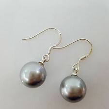 Fashion 10mm Round Shape Grey Color Shell Pearl Silver Hook Drop Earring