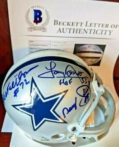 Tony Dorsett & 4 HOF's Signed Autographed Cowboys Mini Helmet Beckett BAS Letter