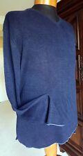 BANANA REPUBLIC 100% Heavy Linen V-Neck Sweater-Dark Blue - Light Blue Trim - XL