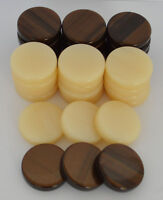 30 Acrylic Backgammon Checkers - Chips Brown & Ivory 1.4 inches - High Quality