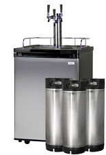 Kegco Homebrew Kegerator Triple Faucet Dispenser Stainless with Ball Lock Kegs
