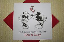 Mickey & Minnie clásico hecho a mano personalizado de boda tarjeta
