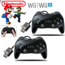 2x Pro Classic Game Controllers Pad Joypad For Nintendo Wii Wii U Remote Black