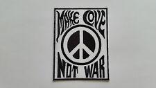 ANTI-WAR CND HIPPIE PEACE SEW ON / IRON ON PATCH:- CND SLOGAN MAKE LOVE NOT WAR