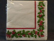 """Christmas Holiday Holly Garland Set of 16 Paper Beverage Napkins 2-Ply 10"""" x 10"""""""