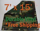 7' x 15' Heavy Duty 18 oz Vinyl Camo Camouflage Tarp Ground Cover Blind