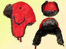 chaud Bonnet D'hiver Aviateur en fourrure synthétique de pilote Fausse rouge