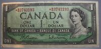 1954 Canadian one dollar bill Canada $1 Serial *BM3743193 replacement bill