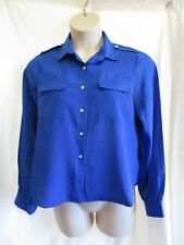 KATIES, Royal Blue Silky Blouse, Trim, Collar, Buttons, Long Sl, Sz 16, Exc Cond