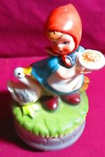 VINTAGE PORCELAIN MUSIC BOX, WITH A LITTLE GIRL AND DUCK   MADE IN JAPAN