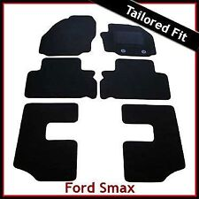 Ford S-Max Mk1 7-Seater 2006-2012 Oval Eyelets Tailored Carpet Floor Mats BLACK