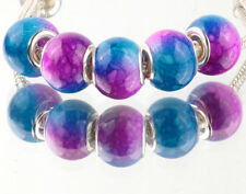 5pcs SILVER MURANO Gradient spacer beads fit European Charm Bracelet DIY #D928