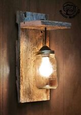 Rustic wall light custom engraved hanging wood kitchen lounge dining outdoor