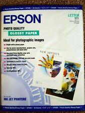 "Epson Glossy Photo Paper 8.5"" x 11"" 20 Sheets Letter  S041124 Inkjet"