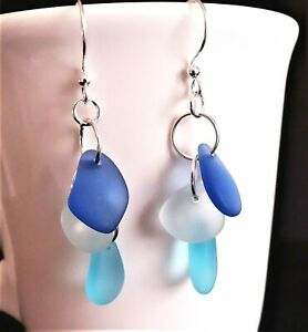COASTAL BLUES Sea glass jewelry handmade cascade pebble earrings