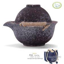 130ml 4.4oz Wood-Fired Teacup Hemp Rope Ceramic Gaiwan Gongfu Tea Travel Set