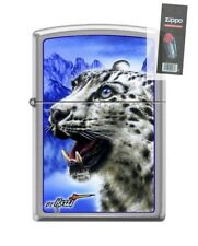 Zippo 7036 Mazzi Snow Leopard Brushed Chrome Finish Lighter + FLINT PACK