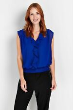 Wallis Womens Blue Ruffle Front V-Neck Top Blouse Sleeveless Elasticated Waist