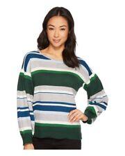 CeCe Sweater Gray Green Size Medium Jersey Stripe Balloon Sleeve Stripe Womens