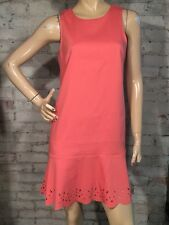 Ann Taylor Loft Dress 8 P 8P Petite (M) Coral Pink Shift Flounce Laser Cut