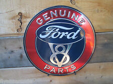 FORD V8 GENUINE PARTS embossed Metal Display Auto Shop DELUXE STANDARD HOT ROD