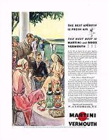 1930s BIG Original Vintage Martini Rossi Vermouth Drinking Party Art Print Ad