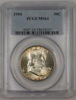 1954 Franklin Silver Half Dollar 50c Coin Cond: PCGS MS-64 Peripheral Toning 1A!