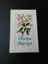 Embroidered Silk postcard, Merry Christmas