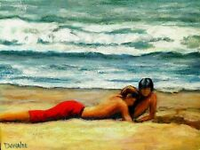 Original Oil Painting Impressionism Beach Ocean Seascape Children Playing Signed