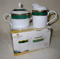 Sugar Bowl Lid Creamer Porcelain Royal Heritage Collection White Green Gold MIB