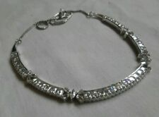 Silver And Rhinestone Cubic Zirconia? Necklace Bridal Bling Sparkle