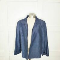 Talbots Linen Blue Collared Chambray Open Blazer 3/4 Sleeve Crop Length Plus 14
