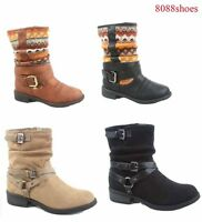 Women's Fashion Zipper Low Heel Mid Calf  Round Toe Boot Shoes Size 5 - 10 New