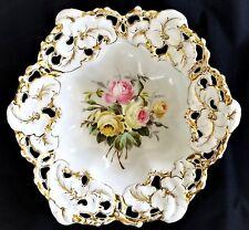 """Center Bowl, Dish, Germany, CT Altwasser, eagle, porcelain, roses, c1880, 12""""dia"""