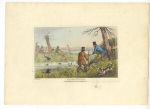 Henry Alken Original 1825 Aquatint - Otter Hunting