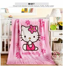 Hello Kitty Cartoon Cute Cat Warm Soft Plush Flannel Throw Blanket Gifts 1×1.4M