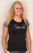"""Tropical Tee Shirt  """"Time Out"""" - Black - 6039/1424"""